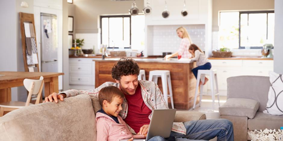 happy family interior at home