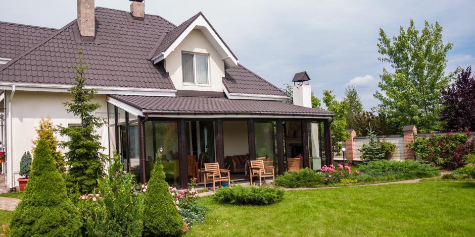modern home and yard